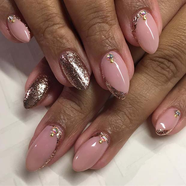 Elegant Rose Gold Nail Idea