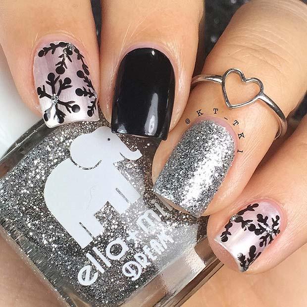 Elegant, Black and Silver Snowflake Nails