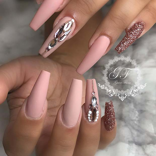 Matte Coffin Nails with Rose Gold Glitter