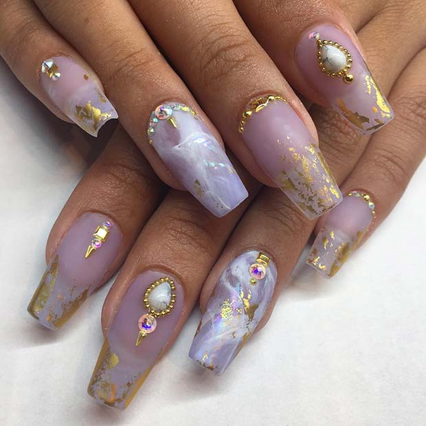 Glam Marble Coffin Nails