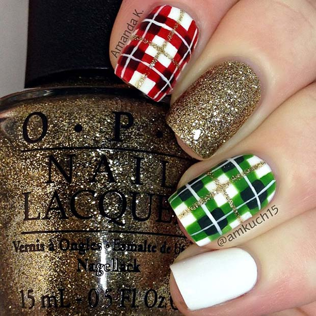 Gold Glitter and Plaid Nails