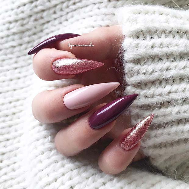 Rose Gold Stiletto Nails