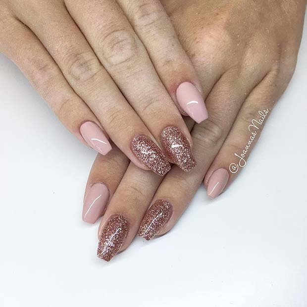 Light Pink and Glitter Coffin Nails