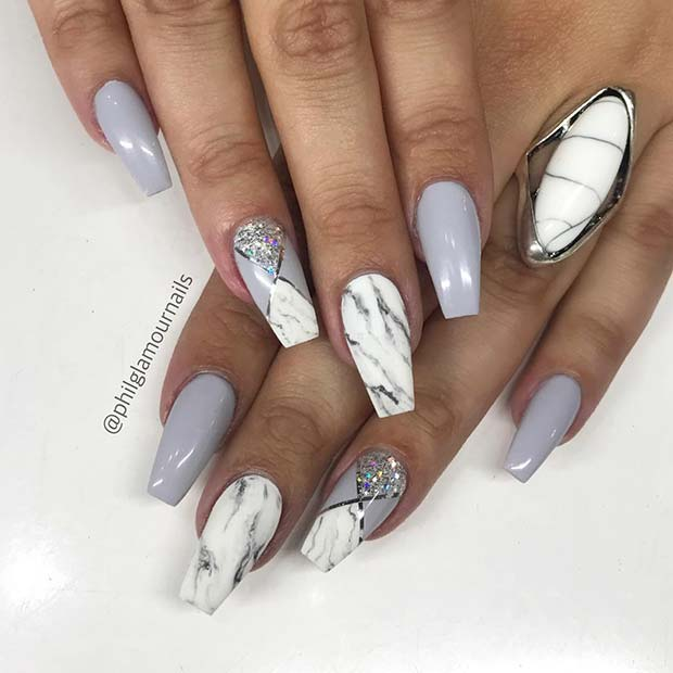 Marble, Grey and Glitter Nails