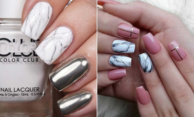 23 Jaw-Dropping Ways to Wear Marble Nails | StayGlam