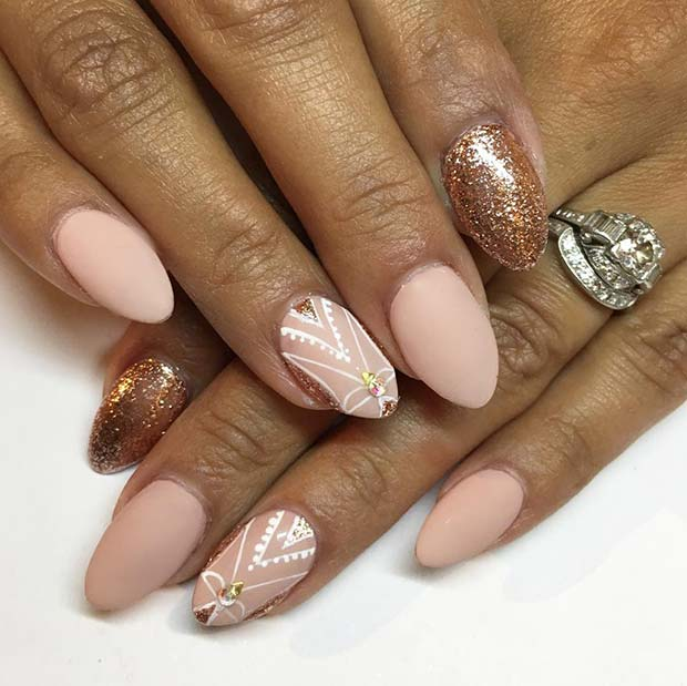Pretty Matte Pink Nails with Rose Gold Glitter