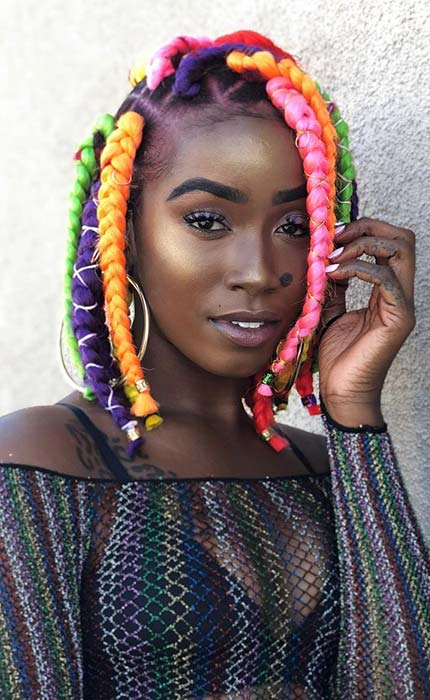 Colorful, Big Box Braids Bob