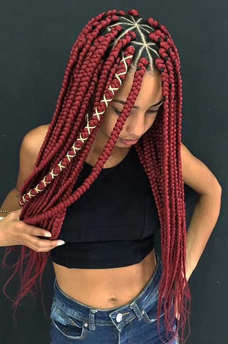Red Triangle Box Braids