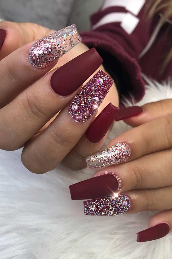 Red and Glitter Holiday Nails