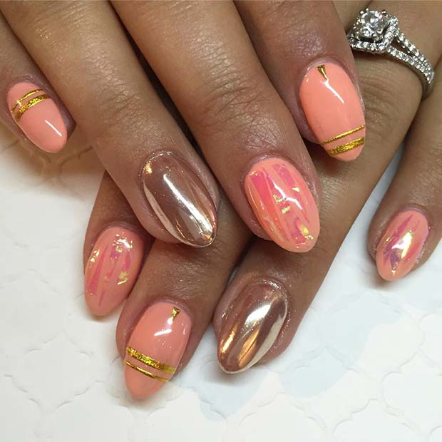 Rose Gold Chrome and Peachy Nails