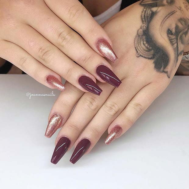 Rose Gold and Burgundy Nails