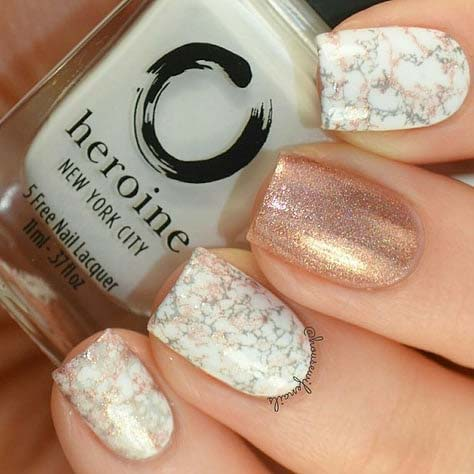 Rose Gold and Marble Nails