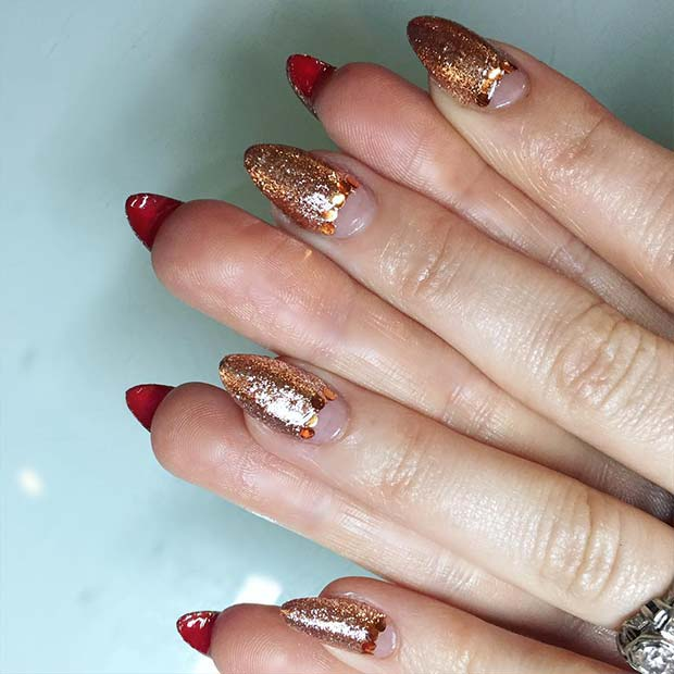 Glittery Rose Gold Nails