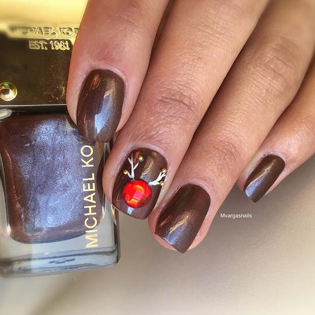 Simple Rudolph Inspired Nails
