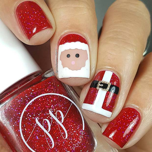 Cute Santa Nail Idea for the Holidays