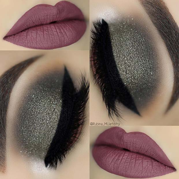 Shimmering Eye Makeup with Dark Lips