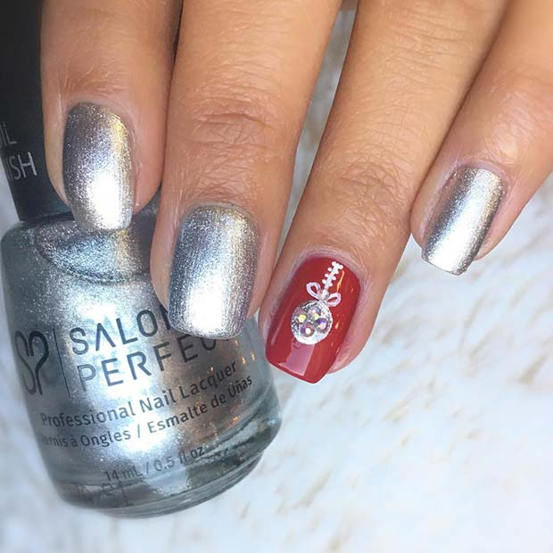 Silver and Red Bauble Holiday Nails