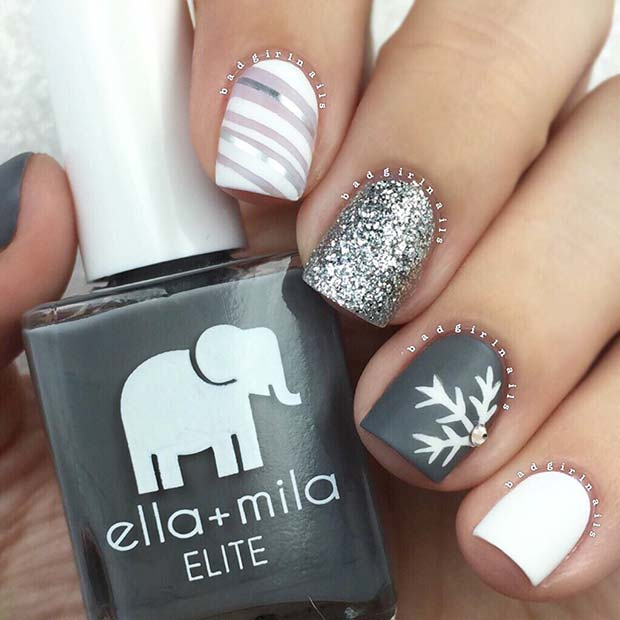 Pretty Snowflake Holiday Nails