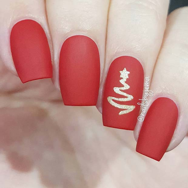 Matte Red Holiday Nails