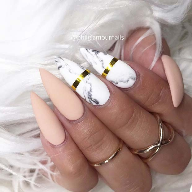 Trendy Stiletto Marble Nails