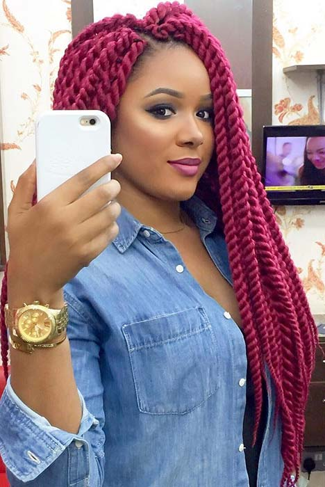 Vibrant Twist Braids Hair Idea