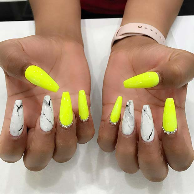 Marble and Neon Coffin Nails