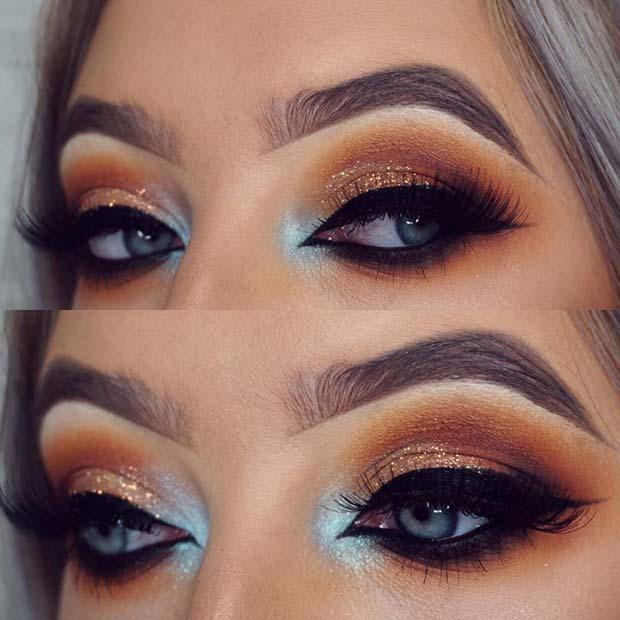 Warm, Orange Glitter Makeup for Blue Eyes