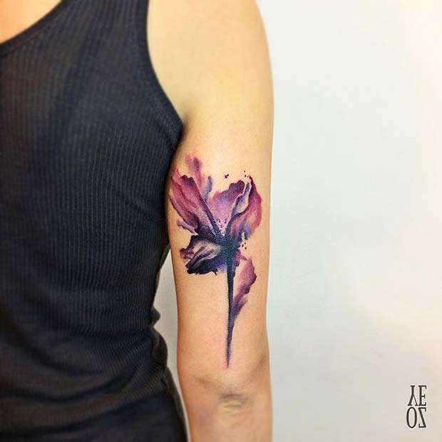 Watercolor Lily TattooIdea