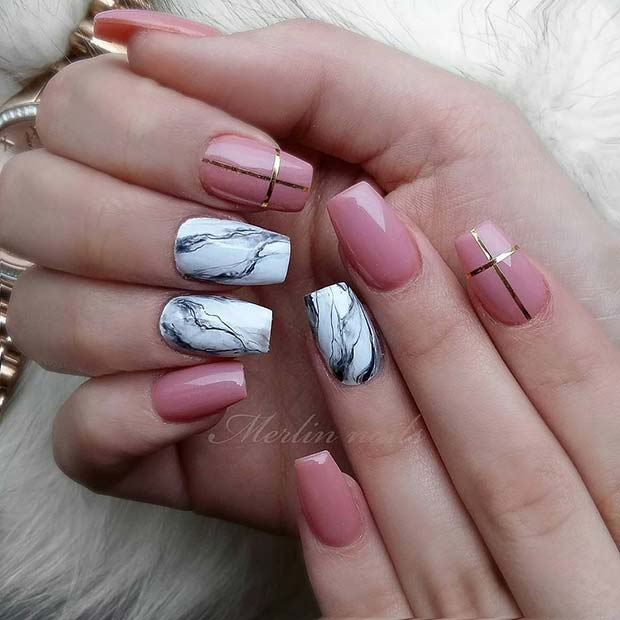 Short, Marble Coffin Nails