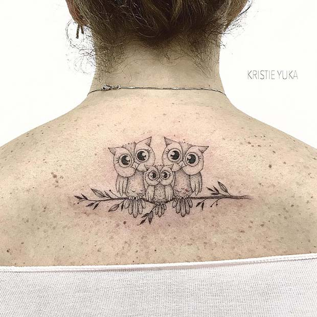 Adorable Owls - Back Tattoo Idea