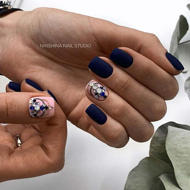 Beautiful, Matte Blue Acrylic Nails