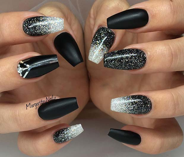 Black Glitter Ombre Nail Idea