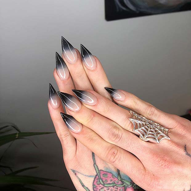 Black to Nude Ombre Nails