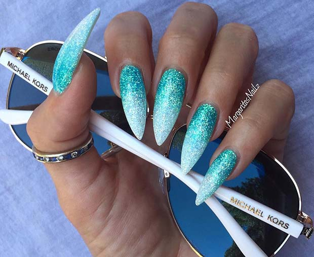 Blue to White Ombre Glitter Nails
