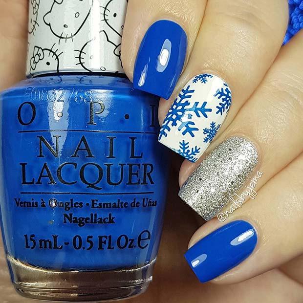 Bold Blue Snowflake Nails