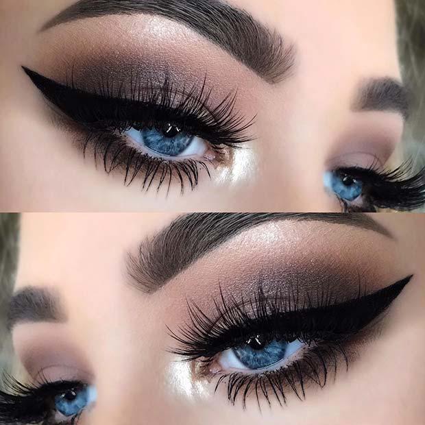 Bold Eyeliner and Brown Smokey Eye