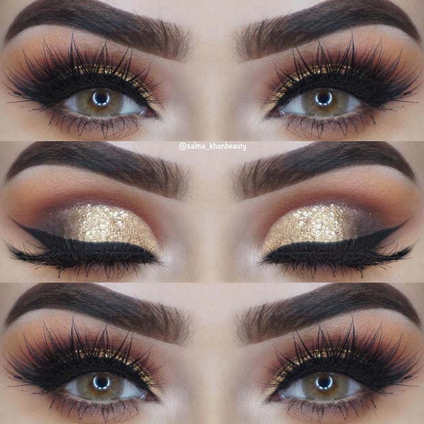 Bold Gold, Shimmery Eye Makeup Look