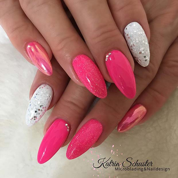Bold Pink and White Nail Design
