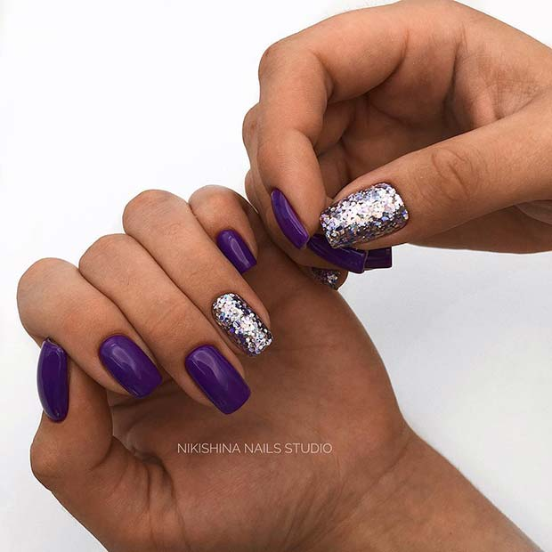 Purple and Silver Glitter Acrylic Nails