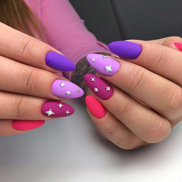 Bright Matte Nail Design with Gems