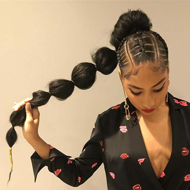 Bubble Weave Ponytail Hairstyle