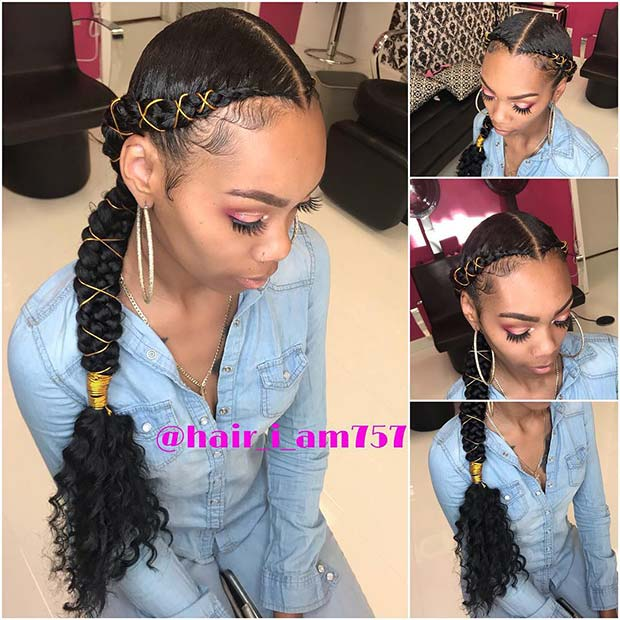 Butterfly Braids with Curly Hair
