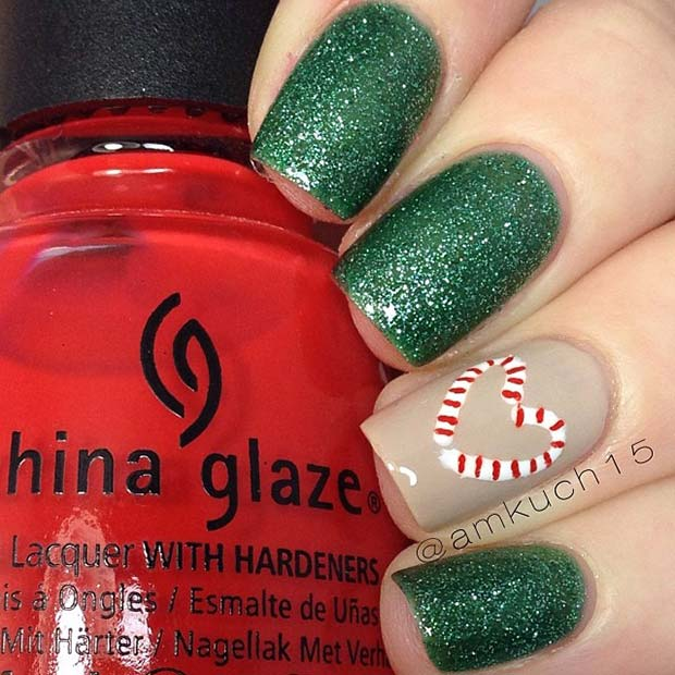 Candy Cane Heart Nails