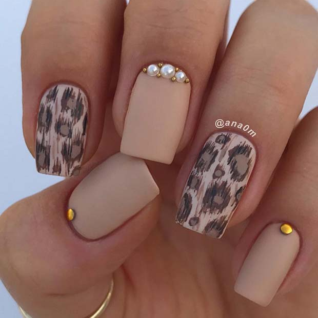 Leopard Short Acrylic Nails
