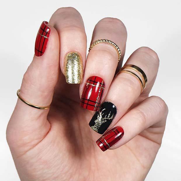 Christmassy Plaid Nails
