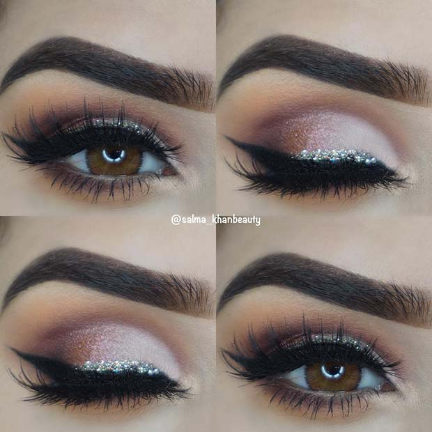Pretty Pink Smokey Eye with Silver Glitter
