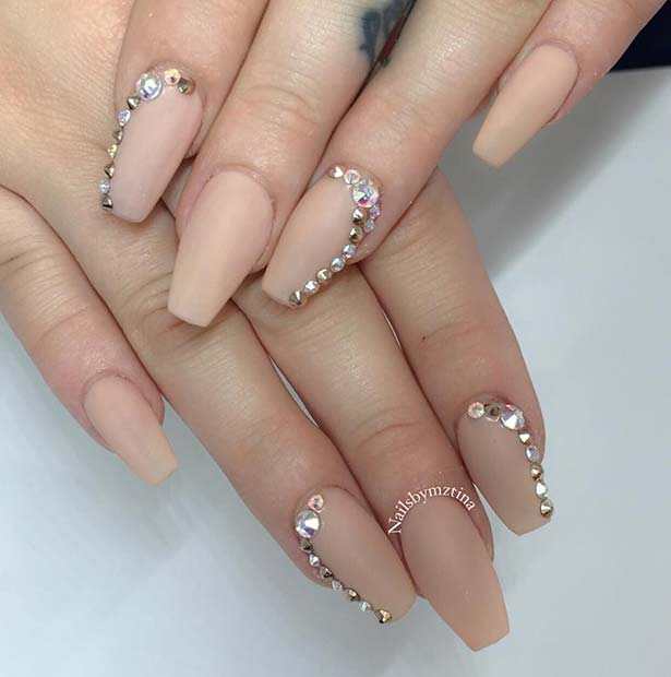 Matte Coffin Nails with Crystals