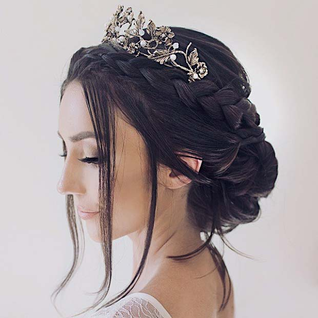 Wedding Hairstyle With Crown: 23 Stunning Wedding Updos For Brides And Guests