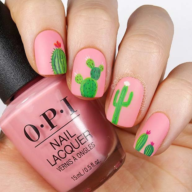 Cute Cactus Nails