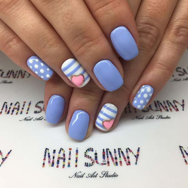 Cute Nail Design with Dots and Stripes